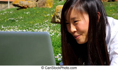 Technology is my life and fun - Cute young chinese woman...