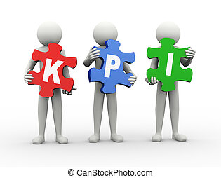3d man puzzle piece - kpi - 3d rendering of people holding...