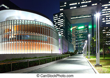 Government headquarter in Hong Kong at night