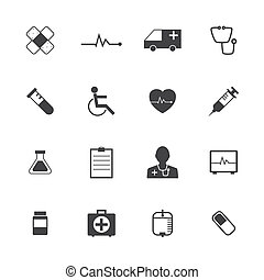 Black and White Medical Icons Collection Vector icon set....