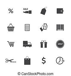Black and White Shopping icons set. Illustration eps 10