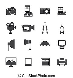 Black and White Camera and accessory icons.Vector EPS10