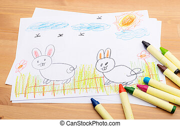 Child drawing for easter holiday
