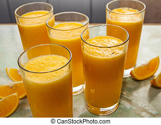 orange juice and fruits
