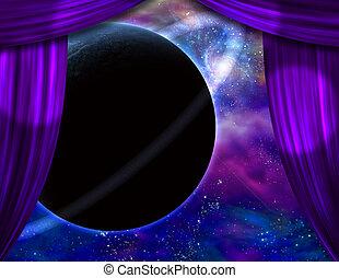 Alien world behind curtains