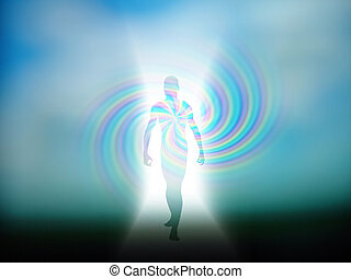 Human Figure Emerges from Light