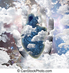 Freedom - Clouds heart and human hand