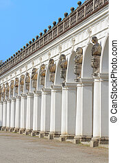 Front of the great colonnade in Kromeriz, Czech Republic