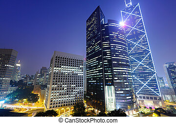 Central business district in Hong Kong at night