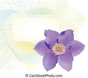 Postcard with clematis flower. Vector beautiful...