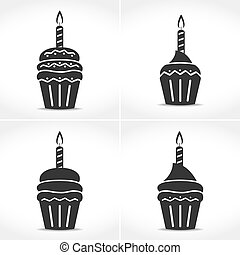 Birthday Cupcakes with Candles - Icons of a birthday...