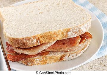 Bacon Sandwich - Freshly made bacon sandwich on white bread
