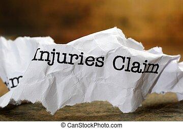 lesiones, Reclamo