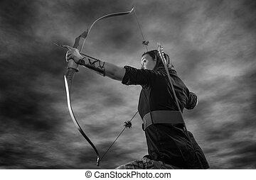 tiro com arco, mulher