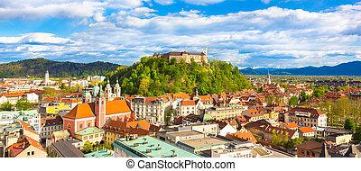 Panorama of Ljubljana, Slovenia, Europe. - Panorama of the...