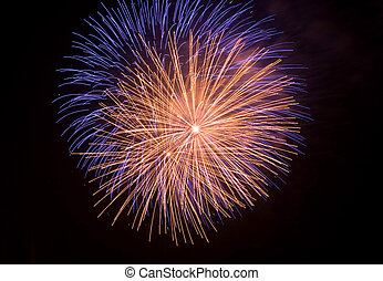 Close shot of some isolated fireworks in a typical festivity