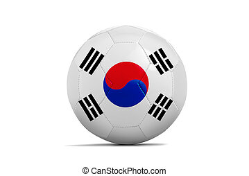 Soccer balls with teams flags, Brazil 2014 Group H, Korea -...