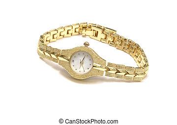 Woman wrist watch - Woman gold wrist watch on white