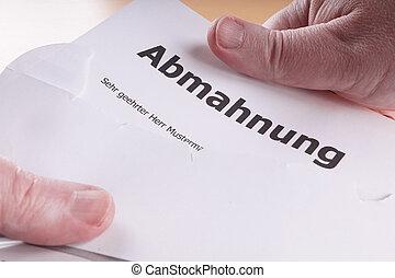Abmahnung - German written warning similar to a...