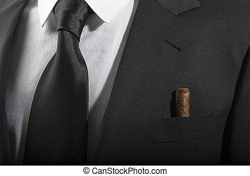 casaco, laço, Cubano, charuto, bolso, italiano, moda