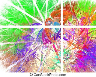 Four rectangles colorful abstraction with bubbles and stripes