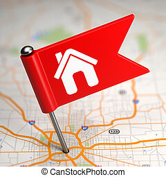 House Sign - Small Flag on a Map Background. - Red Small...