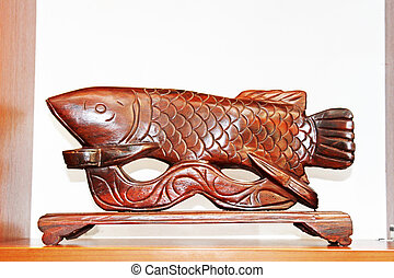 golden dragon fish, redwood carving works of Chinese...