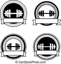 Vector retro bodybuilding badge: black and white colors