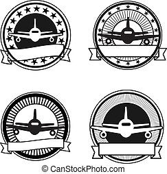Air travel badges: black and white colors, retro