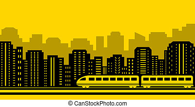 passenger train on city background - yellow background...