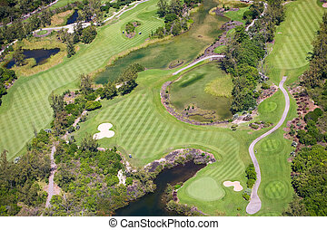 Golf Course - Aerial view of golf course in luxury resort in...
