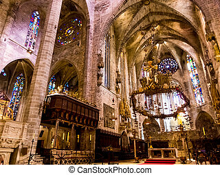 spain, mallorca, palma, cathedral - spain, mallorca, palma...