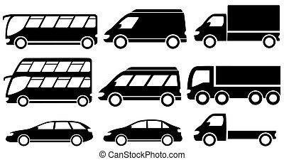 set isolated transport icons - set black isolated transport...