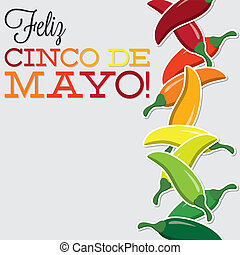 Cinco De Mayo chilli card in vector format