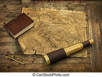 Old world map with telescope - Old nautical map with...