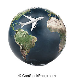airplane travel (Earth map provided by NASA) - airplane...