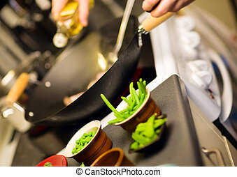 Wok ingredients. Freshly cut vegetables prepared for cooking