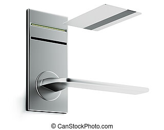 Keycard and electronic lock isolated on a white background....