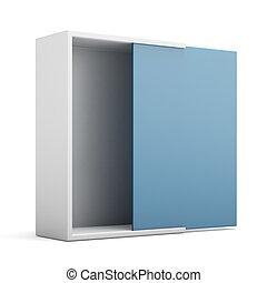 Box opened with blue door