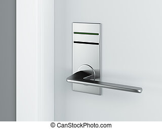 Door and electronic lock isolated on a white background. 3d...