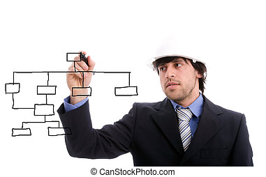 Young business man drawing dataflow, isolated over white...