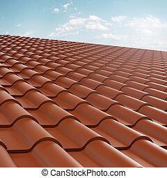 roof tile over blue sky . 3d render