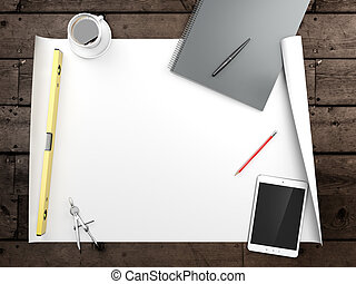 papers with sketches on the table