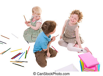 Kids Drawing - Small kids drawing with pencils Isolated on...