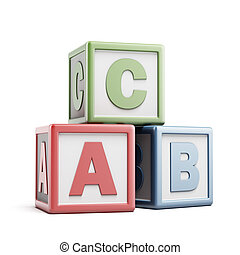 ABC building blocks isolated on a white background. 3d...