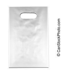 White Plastic bag solated on a white background 3d render