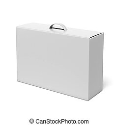 White box with handle isolated on a white background 3d...