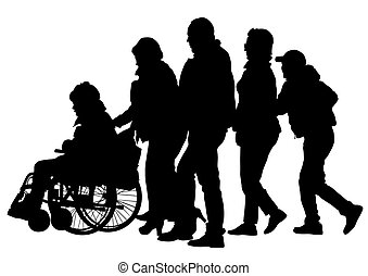 Wheelchair - Silhouettes wheelchair and crowds people