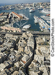 view of historical center and harbour of Genoa Italy - view...