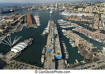 area view of Genoa harbour - view of Genoa Italy